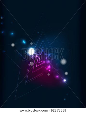 Abstract color glowing lines in dark space with stars and light effects. Futuristic arrow background with copyspace for your message