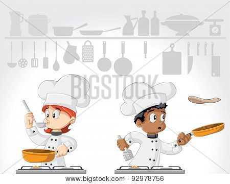Cartoon chefs cooking gourmet food on white kitchen.