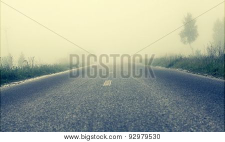 Foggy road, soft focus