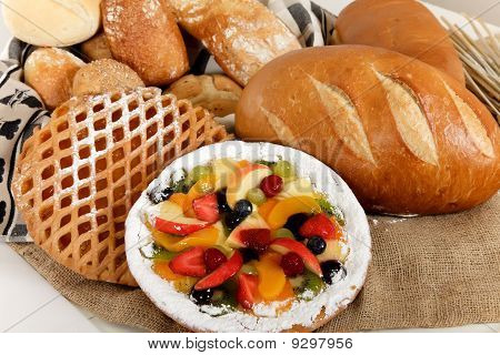 Type Of Bread, Fruits Pie.
