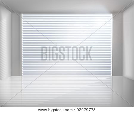 Room with blinds. Vector illustration.