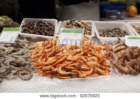 Fresh seafood at fish market