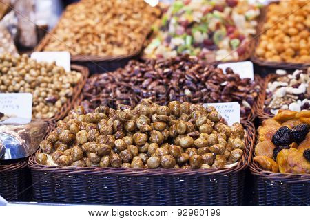 Nuts and almonds and dried fruits for sale at the market