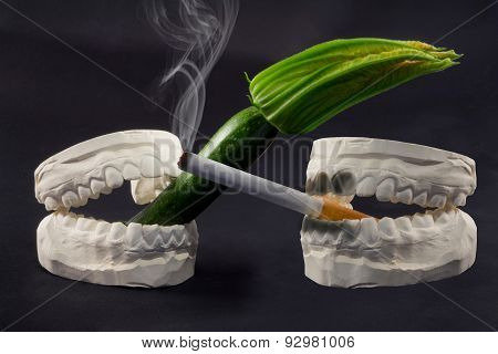 Teeth, Cigarettes and vegetables