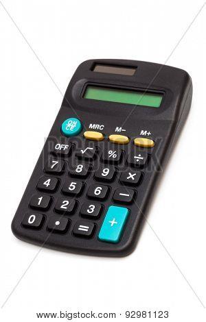 black calculator on a white background
