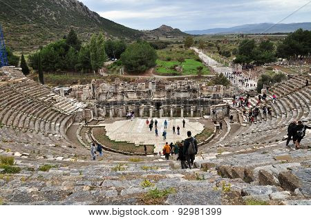 EPHESUS, TURKEY - October 27, 2010 visitors at the great theater at Ephesus, Turkey