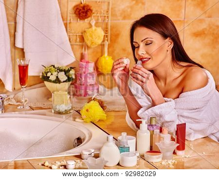 Alone woman relaxing at home luxury bath.