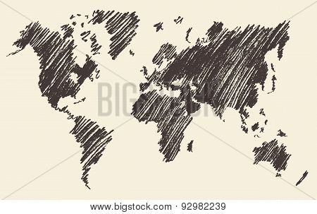 World Map Contour Vector Illustartion