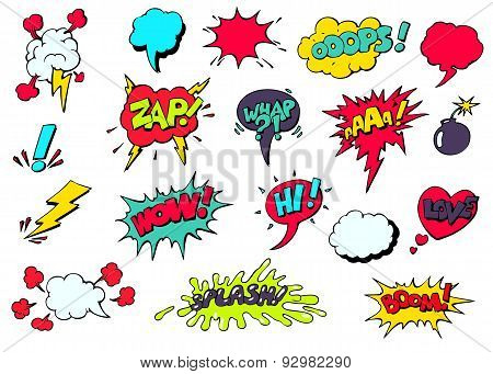 Comic speech bubbles for different emotions vector