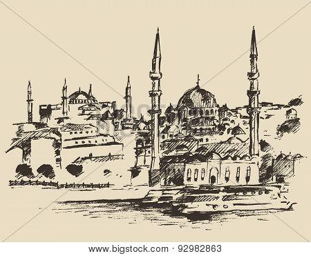 Istanbul, Turkey, Vintage Engraved Sketch Vector