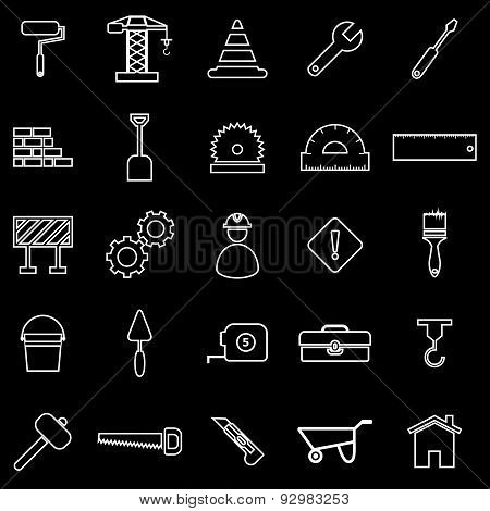Construction Line Icons On Black Background