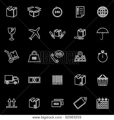 Shipping Line Icons On Black Background