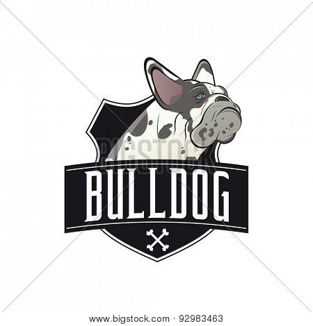 french bulldog with banner and shield