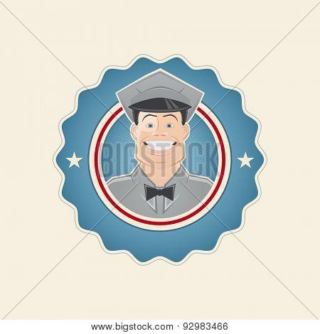 retro service man in a badge