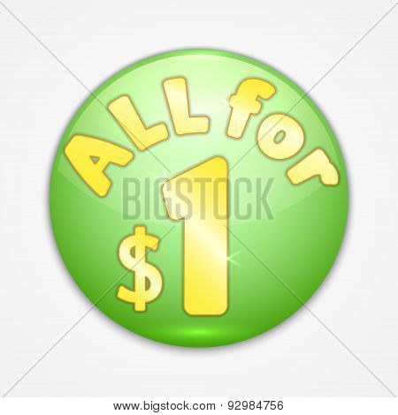 Vector abstract round green sticker all for one dollar