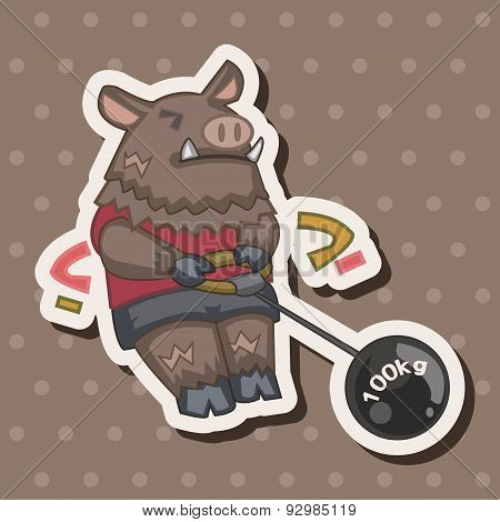 Animal Boar Doing Sports Cartoon Theme Elements