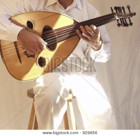 Arab Musician Playing Traditional Stringed Instrument The Oud