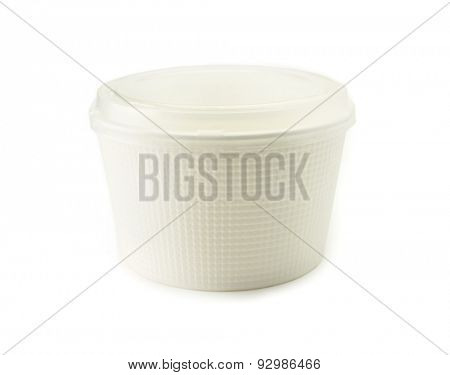 Bowl type food packaging container with transparent lid, isolated on white. Packaging material commonly used for takeout and microwave cooking type foods.