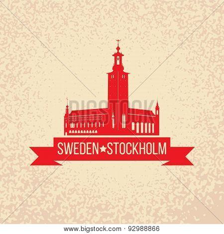 Stockholm Skyline With The Symbol Of Sweden