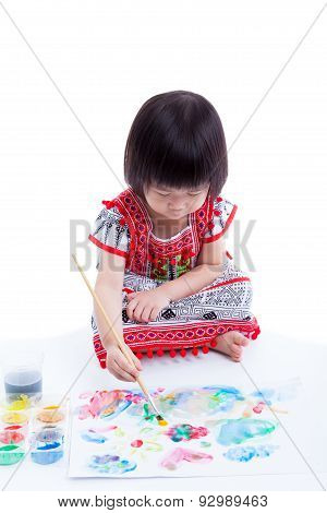 Asian Girl Painting And Using Drawing Instruments, Creativity Concept, On White Background, Studio S