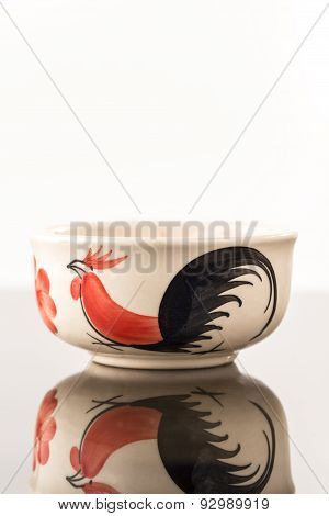 Porcelain Bowls Isolated, Painted Chicken