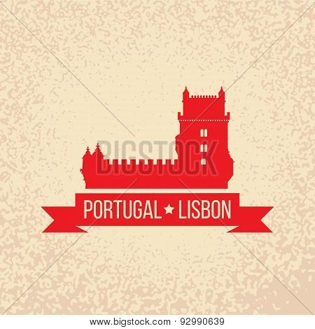 Lisbon Symbol - Belem Tower - Vector Illustration