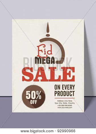 Stylish mega sale flyer, poster, banner or template with discount offer on every product for islamic fastival, Eid celebration.