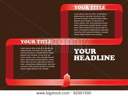 Red Ribbon Frame Vector Layout