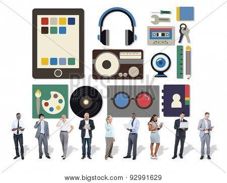 Media Movies Radio Music Tools Internet Social Concept