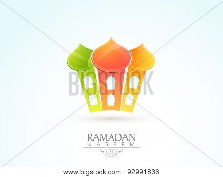 Shiny colorful mosque design on sky blue and white background for Islamic holy month of prayers, Ramadan Kareem celebration.