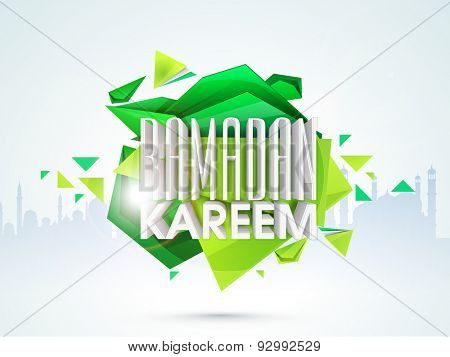 Stylish 3D text Ramadan Kareem on mosque silhouetted abstract background for Muslim community festival celebration.