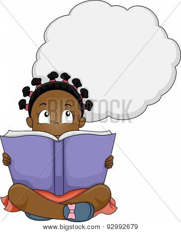 Illustration of a Little Girl Thinking While Reading a Book