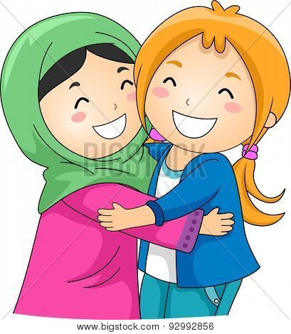 Illustration of a Muslim and a Non Muslim Girl Hugging Each Other