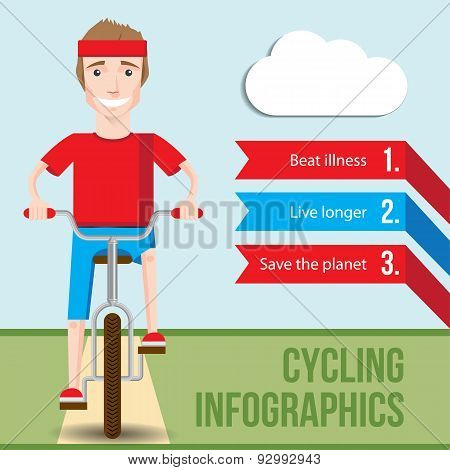 Bicycle Infographics Concept With Front View Of Smiling Hipster Man