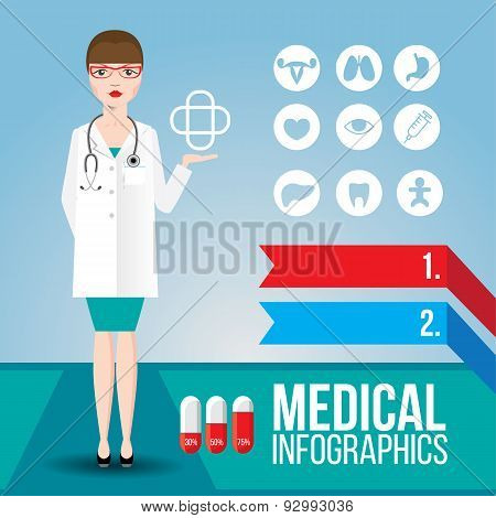 Medical Infographic. Young Smiling Woman Doctor With Stethoscope
