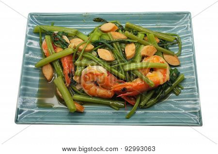 Stir Fried Water Spinach, Morning Glory with shrimp, seafood, Thai food