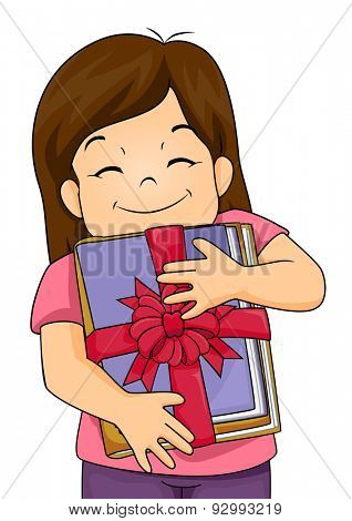 Illustration of a Happy Girl Hugging Her Present