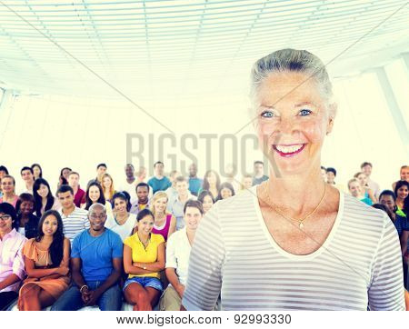 Senior Adult Smiling Standing Out Crowd Concept