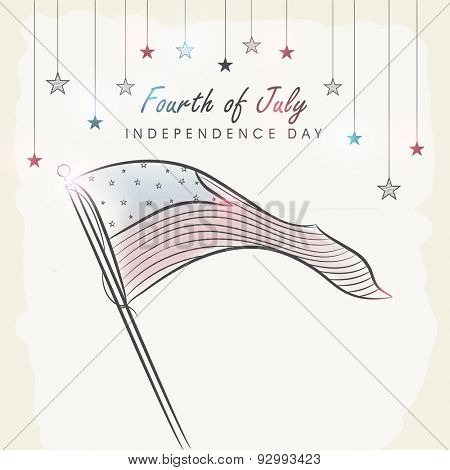 4th of July, American Independence Day celebration with national flag waving and colorful stars hanging on vintage background.
