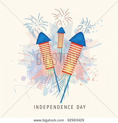 Shiny rockets in national flag color on splash background for 4th of July, American Independence Day celebration.