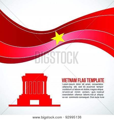 Abstract Vietnam flag wave and Ho Chi Minh - Mausoleum Hanoi