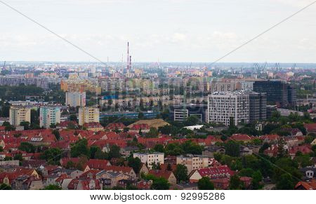 View From Tower On Residential Areas In Gdansk
