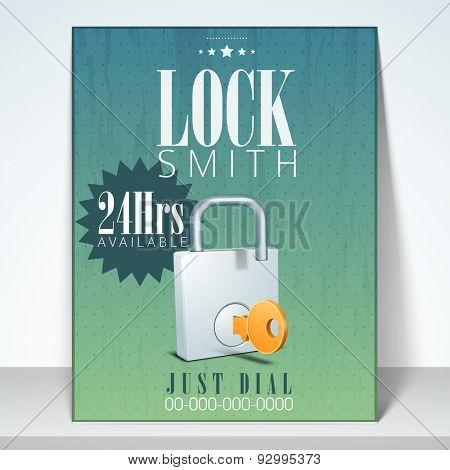 Stylish flyer, banner or template for lock smith with details.