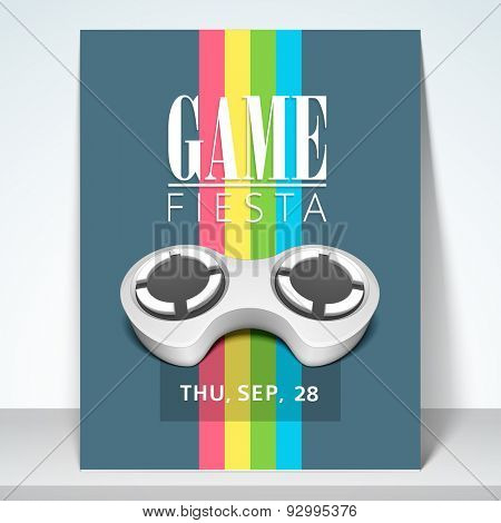 Stylish flyer, template or brochure for game fiesta with  details.