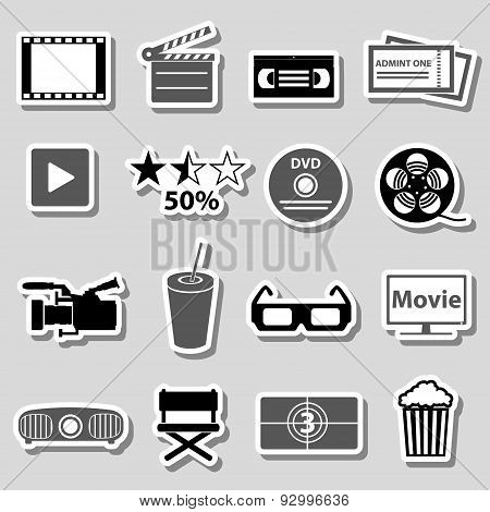 Movie And Cinema Vector Grayscale Stickers Set Eps10