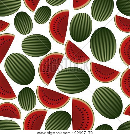 Colorful Melon Fruits And Half Fruits Seamless Pattern Eps10