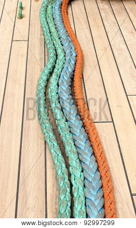 Closeup Of Colorful Thick Ropes On Sailboat