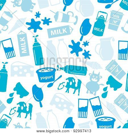 Milk And Milk Product Blue Theme Seamless Pattern Eps10