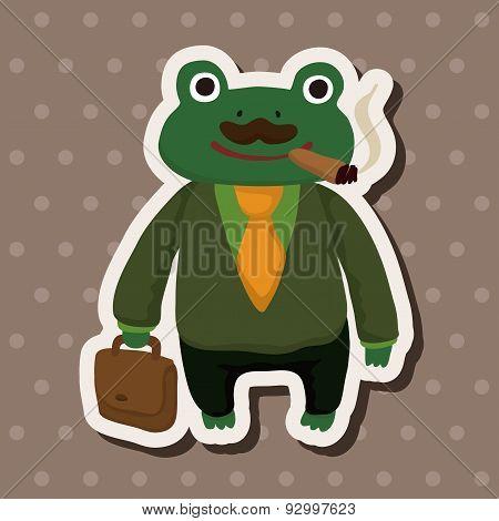 Animal Frog Worker Cartoon Theme Elements
