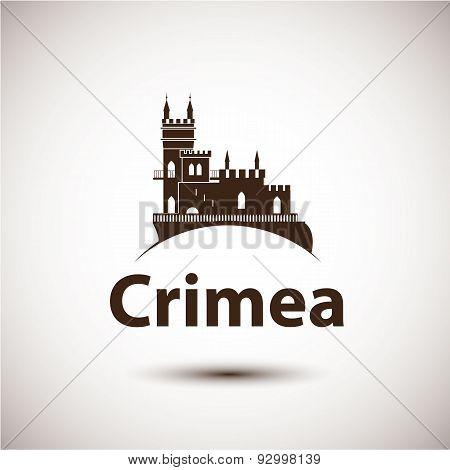 Vector Linear Symbol Of Crimea. The Castle Swallow's Nest Near Yalta, Ukraine - Russia